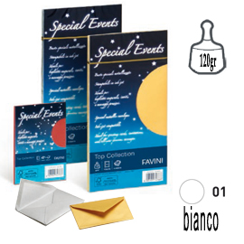 10 buste SPECIAL EVENTS METAL 120gr 110x220mm bianco FAVINI