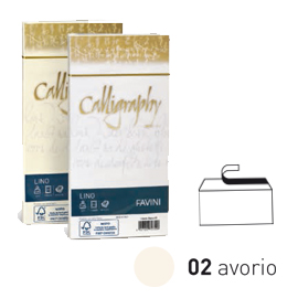 25 buste CALLIGRAPHY LINO 120gr 11x22cm avorio FAVINI