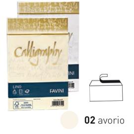 25 buste CALLIGRAPHY LINO 120gr 12x18cm avorio FAVINI