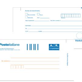 100 CARTOLINE DI RITORNO RACCOMANDATA 10X20CM C/ADES.RIMOV. E0622/1