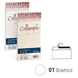 25 BUSTE CALLIGRAPHY MILLERIGHE 11X22CM 100GR 01 BIANCO