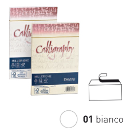 25 BUSTE CALLIGRAPHY MILLERIGHE 12X18CM 100GR 01 BIANCO