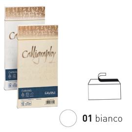 25 BUSTE CALLIGRAPHY CANVAS 11X22CM 100GR 01 BIANCO