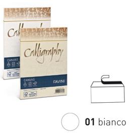 25 BUSTE CALLIGRAPHY CANVAS 12X18CM 100GR 01 BIANCO