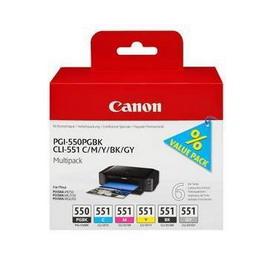 CONF. MULTIPACK CARTUCCIA INCHIOSTRO PGI-550/CLI-551 PGBK/C/M/Y/BK/GY